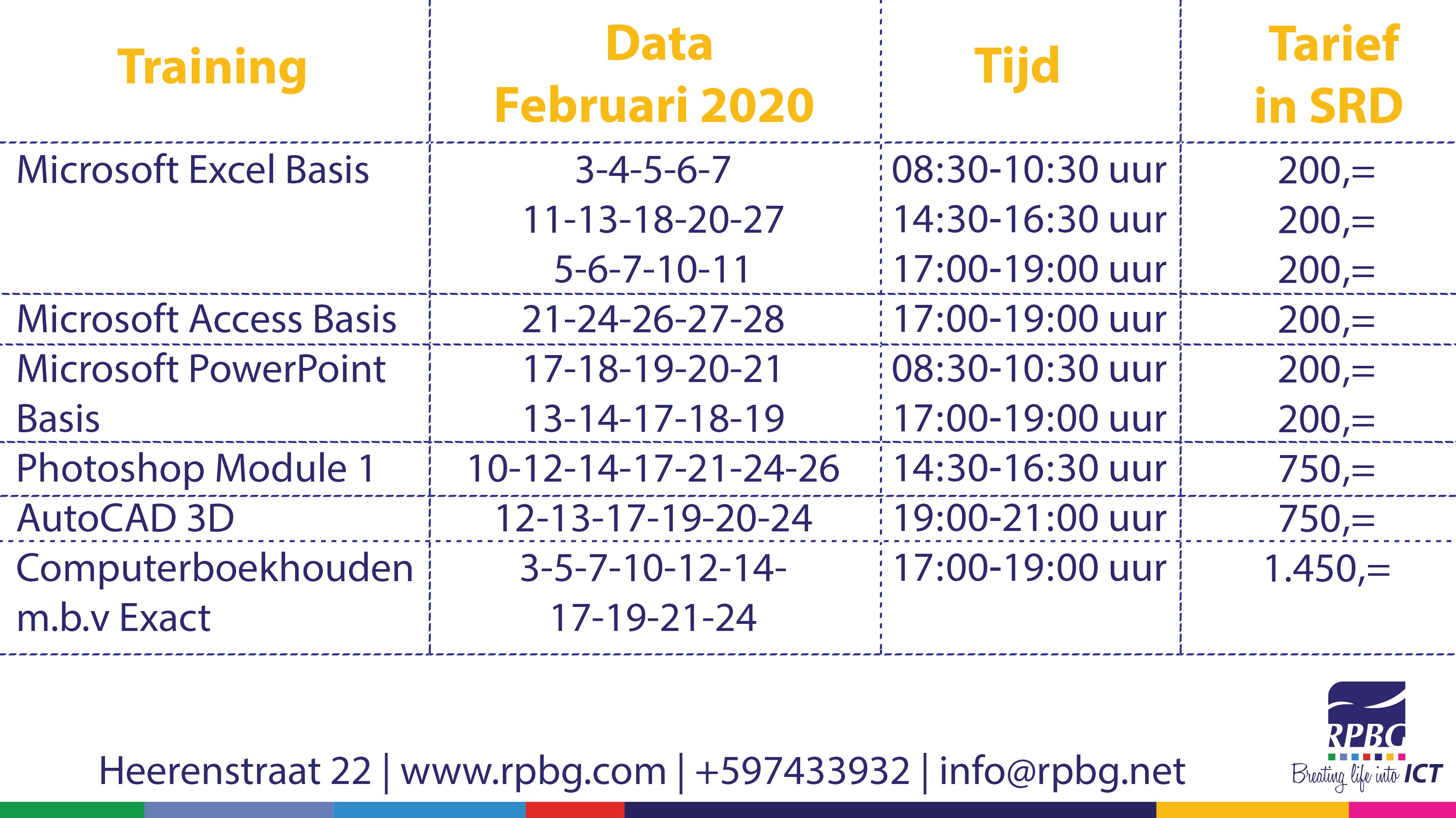 Trainingen Februari 2020